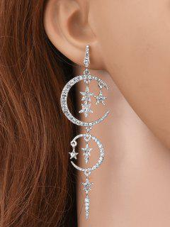 Rhinestone Moon Stars Drop Earrings - Silver