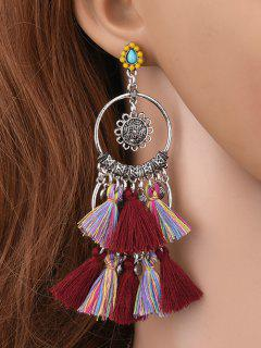 Sunflower Tassel Round Drop Earrings - Burgundy