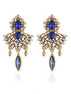 Water Drop Rhinestone Faux Peal Earrings - Royal