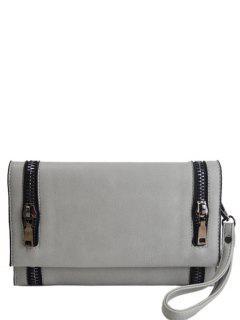 Zips Embellished Clutch Bag - Light Gray