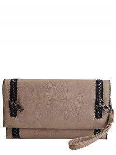 Zips Embellished Clutch Bag - Khaki