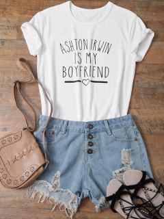 T-shirt A Col Perlé Avec Motif Lettres Drôles  - Blanc L
