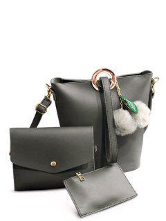Pompon Metal Ring Crossbody Bag - Gray