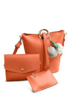 Pompon Metal Ring Crossbody Bag - Orange