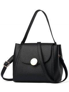 Flap Metal Embellished Shoulder Bag - Black
