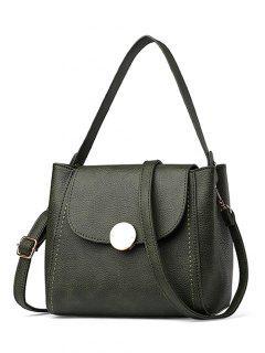 Flap Metal Embellished Shoulder Bag - Blackish Green