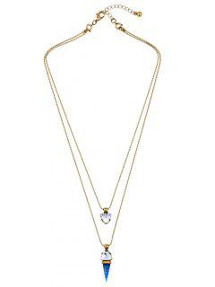 Faux Gem Triangle Layered Necklace - Golden