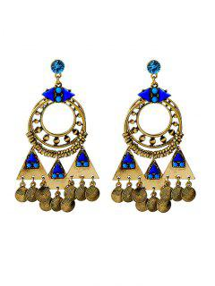 Rhinestone Coins Geometric Chandelier Earrings - Blue