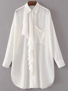Oversized Chiffon Shirt With Frill - White M