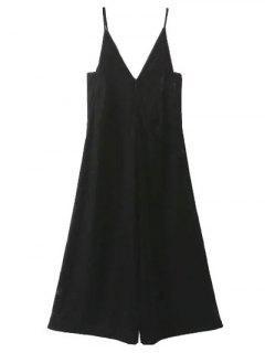 Cropped Wide Leg Velvet Jumpsuit - Black S