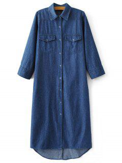 Denim Midi Shirt Dress - Denim Blue S