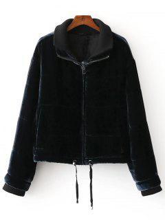 Collar Capas De La Chaqueta De Terciopelo De Invierno - Negro S