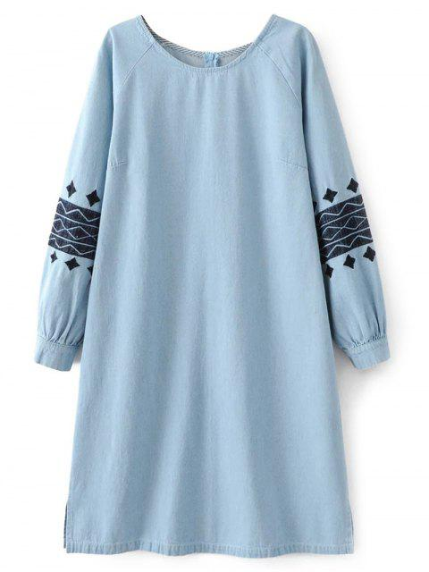 shop Denim Embroidered Tunic Dress - LIGHT BLUE M Mobile