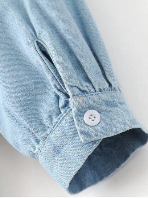 Robe tunique en denim avec broderie - Bleu clair M Mobile
