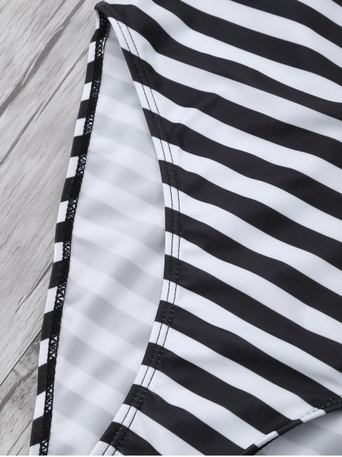 latest Stripe Drop Armhole Swimsuit - WHITE AND BLACK M Mobile