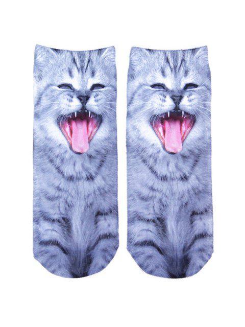Chaussettes avec chat qui baille en 3D - Gris  Mobile