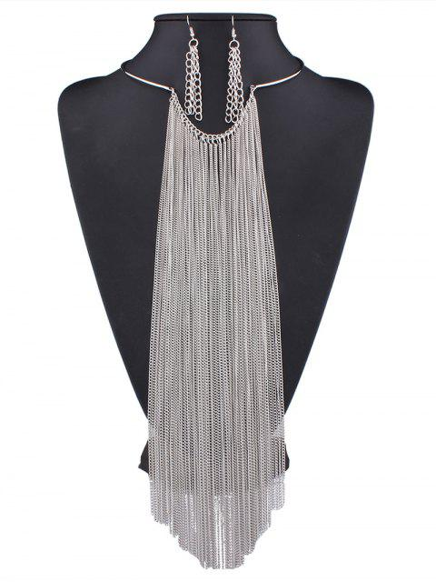 outfit Long Tasseled Necklace Set - SILVER  Mobile