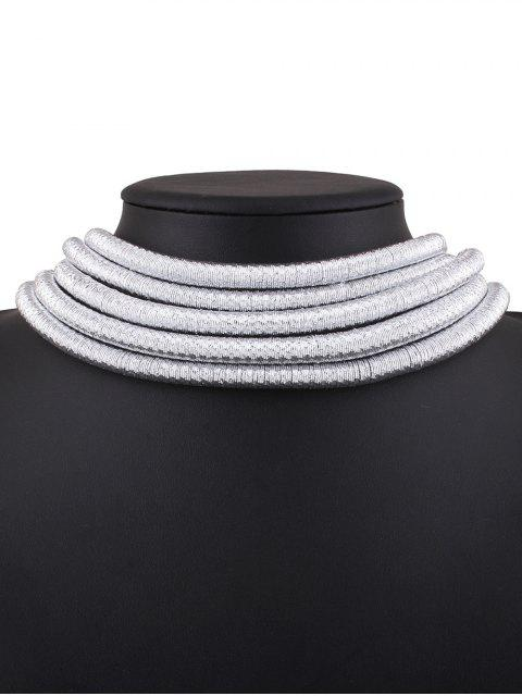 trendy Hollow Braided Rope Necklace - SILVER  Mobile