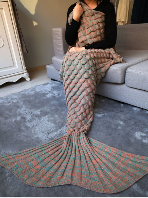 outfit Fish Scale Knit Long Mermaid Blanket Throw - LIGHT BROWN  Mobile