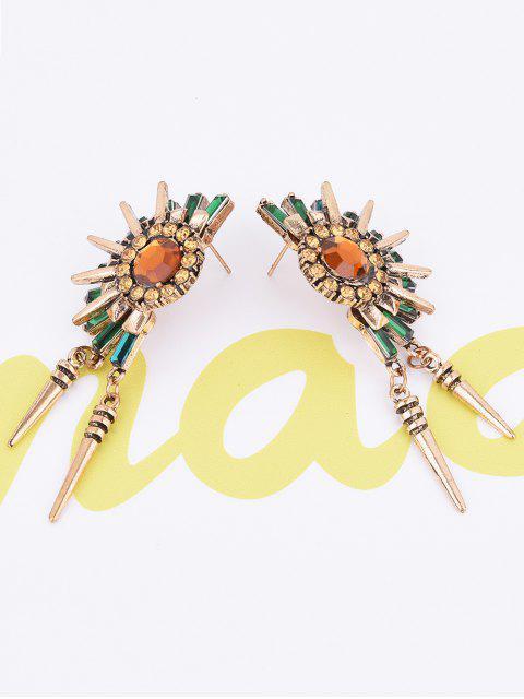trendy Rhinestone Floral Rivet Tassel Earrings - GOLDEN  Mobile