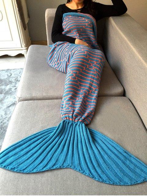 outfits Stripy Knit Mermaid Blanket Throw -   Mobile