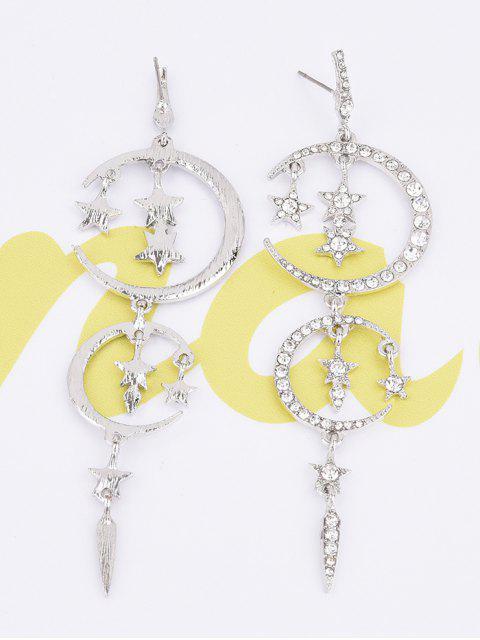 fashion Rhinestone Moon Stars Drop Earrings - SILVER  Mobile