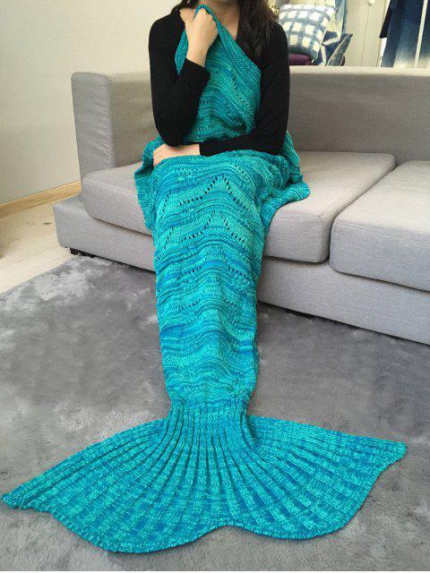shop Crochet Knit Stripy Mermaid Blanket Throw - GREEN  Mobile
