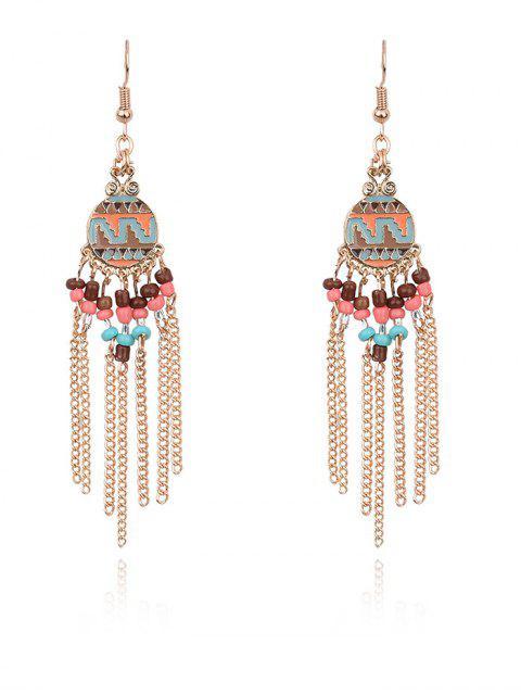 ladies Beads Chain Tassel Drop Earrings -   Mobile