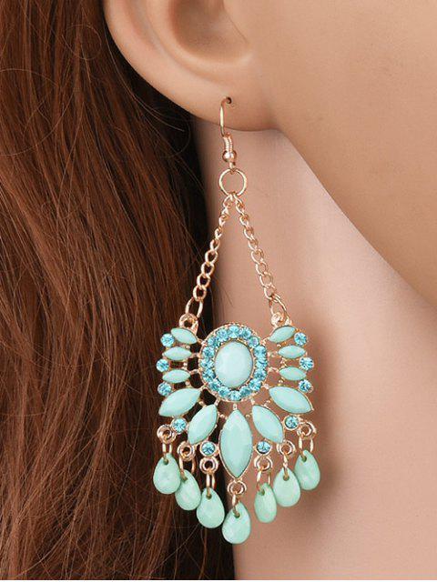 Boucles d'oreilles à pendentif floral de diamants artificieux - Vert Clair  Mobile