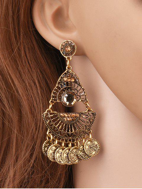 unique Hollowed Geometry Coin Tassel Earrings -   Mobile