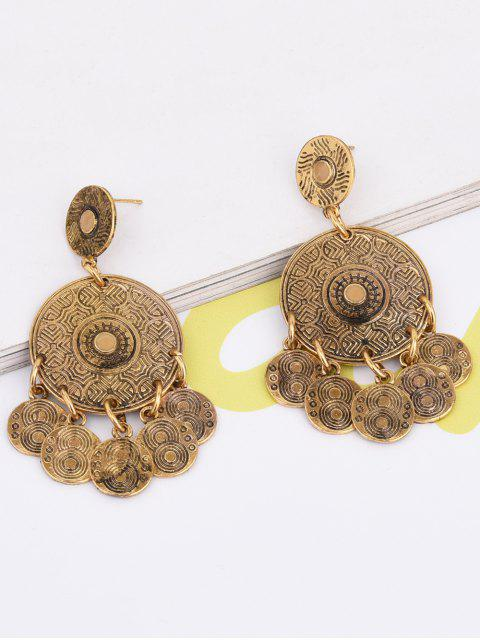 affordable Coin Shape Tassel Drop Round Earrings -   Mobile