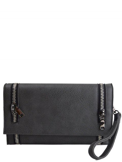 best Zips Embellished Clutch Bag - DEEP GRAY  Mobile