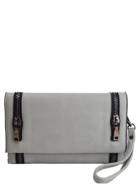 online Zips Embellished Clutch Bag - LIGHT GRAY  Mobile