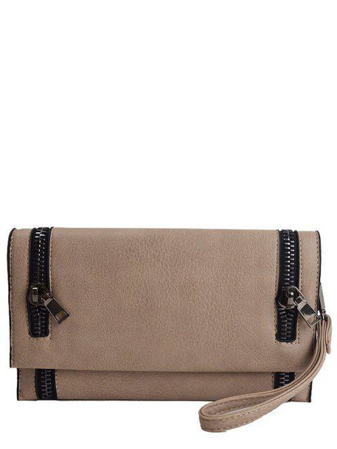 hot Zips Embellished Clutch Bag - KHAKI  Mobile