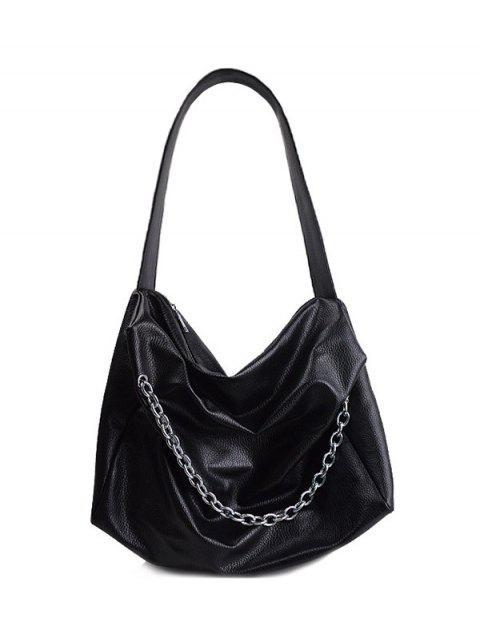 outfit Chains Slouch Shoulder Bag - BLACK  Mobile