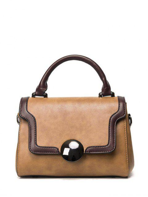 latest Color Panel PU Leather Handbag - BROWN  Mobile