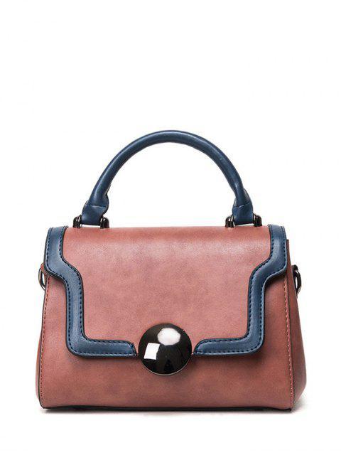 fashion Color Panel PU Leather Handbag - DARK AUBURN  Mobile