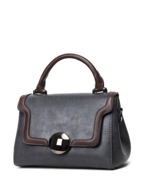 chic Color Panel PU Leather Handbag - GRAY  Mobile