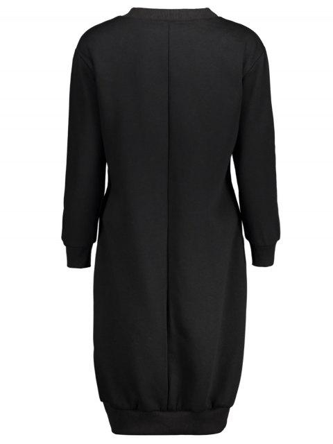 online Casual Long Sleeve Letter Midi Dress - BLACK 3XL Mobile