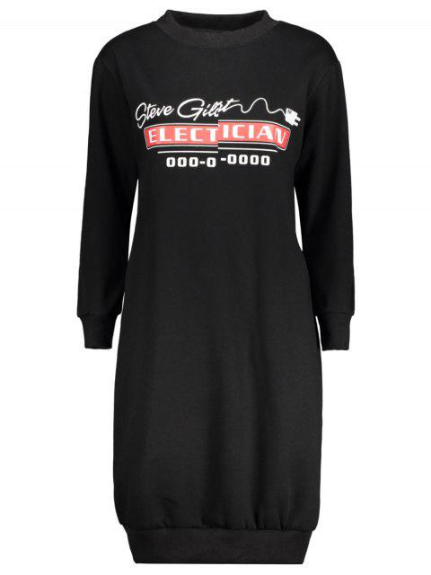 new Casual Long Sleeve Letter Midi Dress - BLACK 2XL Mobile