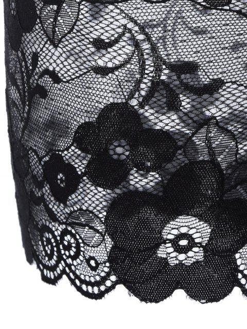 fancy Floral Applique Lace Bra Set - BLACK 80B Mobile