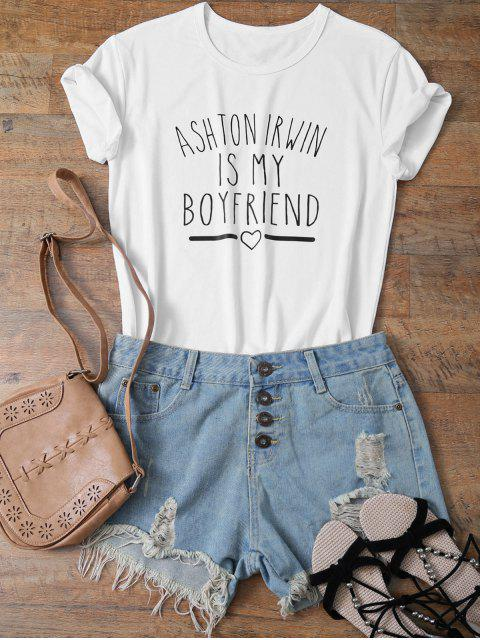 sale Short Sleeve Funny Letter Tee - WHITE L Mobile