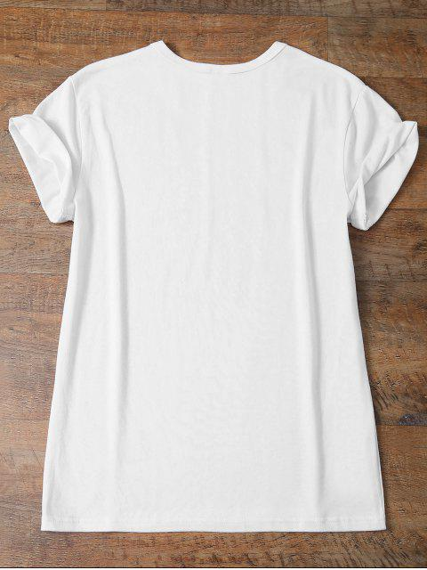 affordable Short Sleeve Funny Letter Tee - WHITE M Mobile
