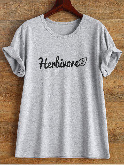 chic Short Sleeve Herbiuone Boyfriend T-Shirt - GRAY M Mobile