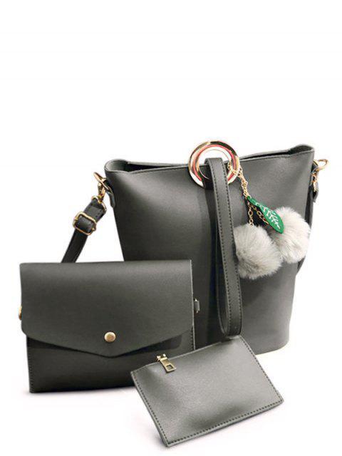 womens Pompon Metal Ring Crossbody Bag -   Mobile