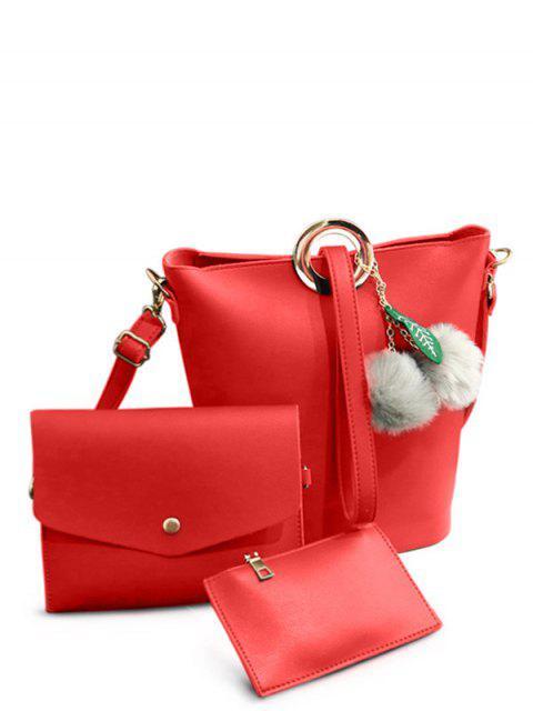 unique Pompon Metal Ring Crossbody Bag - RED  Mobile
