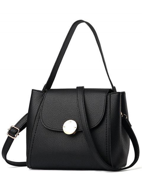 women Flap Metal Embellished Shoulder Bag - BLACK  Mobile