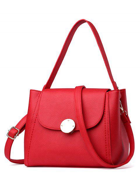 women's Flap Metal Embellished Shoulder Bag - RED  Mobile