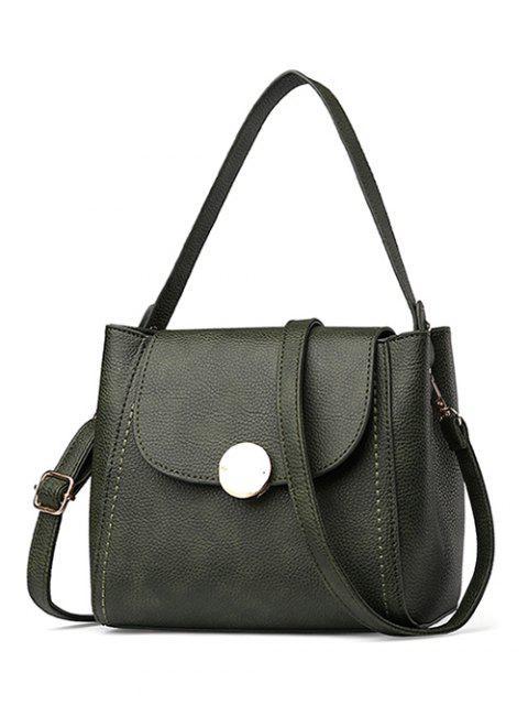 best Flap Metal Embellished Shoulder Bag - BLACKISH GREEN  Mobile