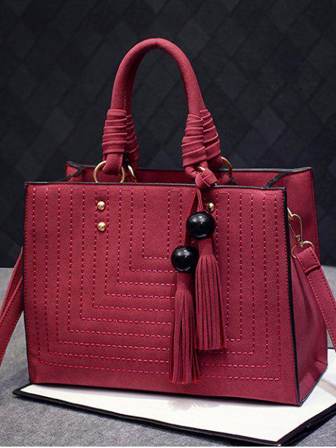 new Stitching Suede Tassel Handbag - WINE RED  Mobile